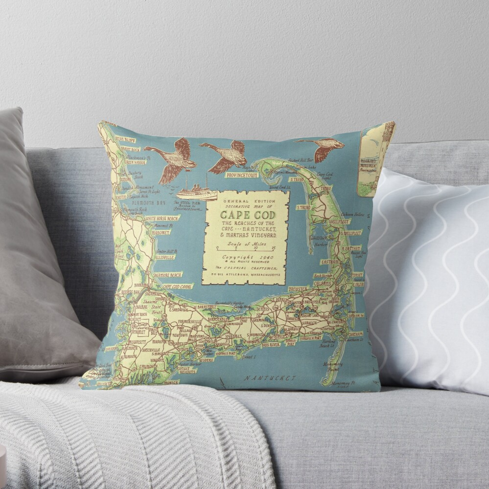Vintage Map of Cape Cod (1940) Throw Pillow