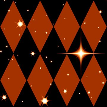 Orange n Black Diamonds With Stars Pattern by Harleythemk