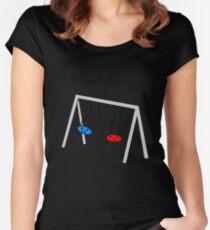 Funny Mood Swings Cartoon Women's Fitted Scoop T-Shirt