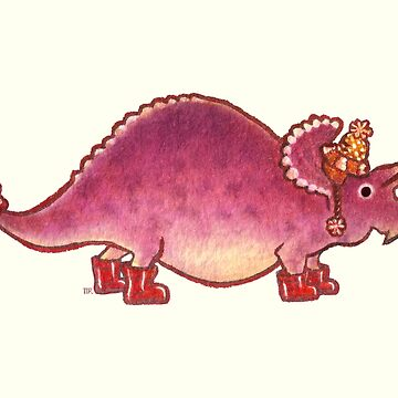 Pink Triceratops Derposaur with Wellies by MadiRuss