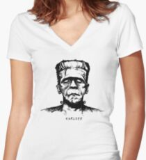 Karloff's Monster Women's Fitted V-Neck T-Shirt