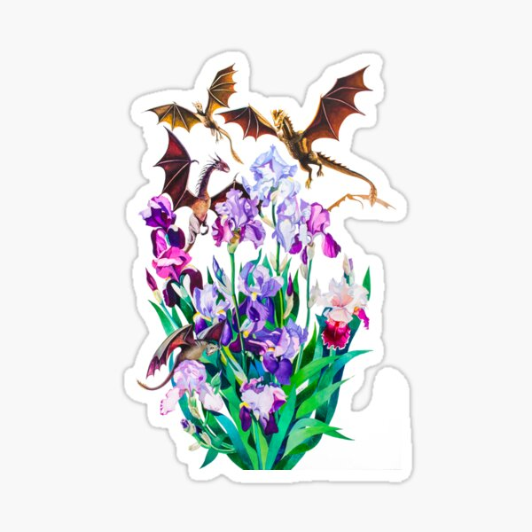 """Dragons in Irises"" Sticker"