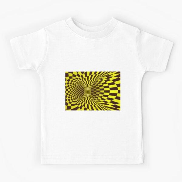 Yellow Trippy optical illusion  Kids T-Shirt