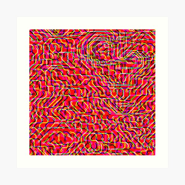 Circuit pink and fizzled  Art Print