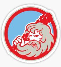 Hercules Wielding Club Circle Retro Sticker