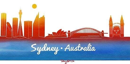 iconic Sydney Australia by tobycentreart