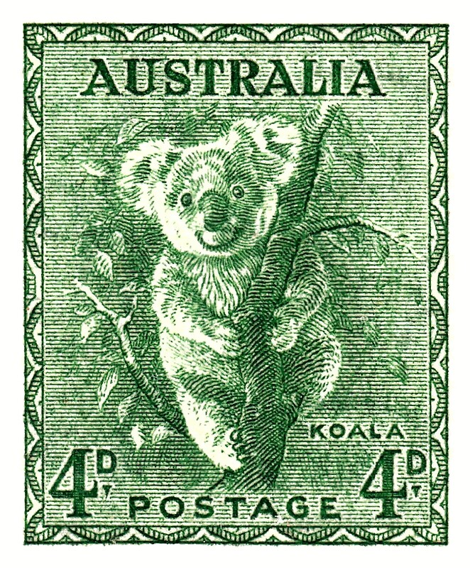 graphic regarding Printable Postage Stamps titled 1940 Australia Koala Postage Stamp Artwork Print