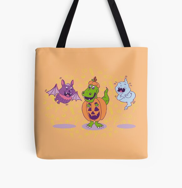 Happy T-Rex Halloween All Over Print Tote Bag