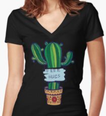 Free Hugs - Cactus Women's Fitted V-Neck T-Shirt