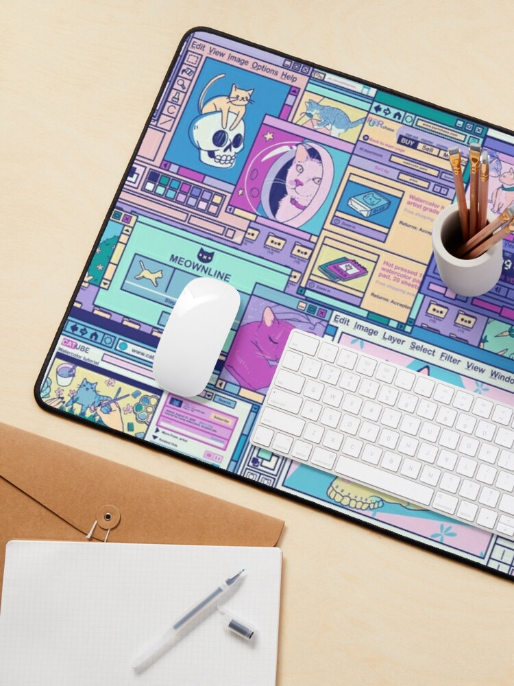 Alternate view of Desktop of a Cat Artist Mouse Pad