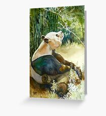 Stop and smell the Flowers id1270236 panda bear Greeting Card