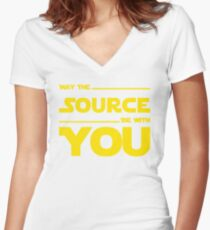 May The Source Be With You - Yellow/Dark Parody Design for Programmers Women's Fitted V-Neck T-Shirt