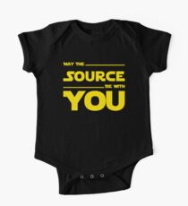 May The Source Be With You - Yellow/Dark Parody Design for Programmers One Piece - Short Sleeve