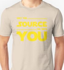 May The Source Be With You - Yellow/Dark Parody Design for Programmers T-Shirt