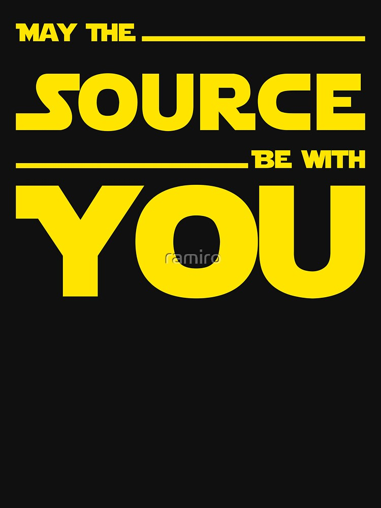May The Source Be With You - Yellow/Dark Parody Design for Programmers | Unisex T-Shirt