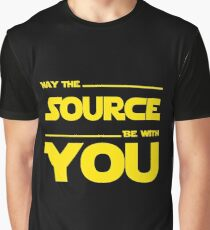 May The Source Be With You - Yellow/Dark Parody Design for Programmers Graphic T-Shirt