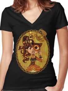 Steampunk Doc Women's Fitted V-Neck T-Shirt