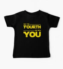 May The Fourth Be With You - Yellow/Dark Parody Design for Geeks Baby Tee