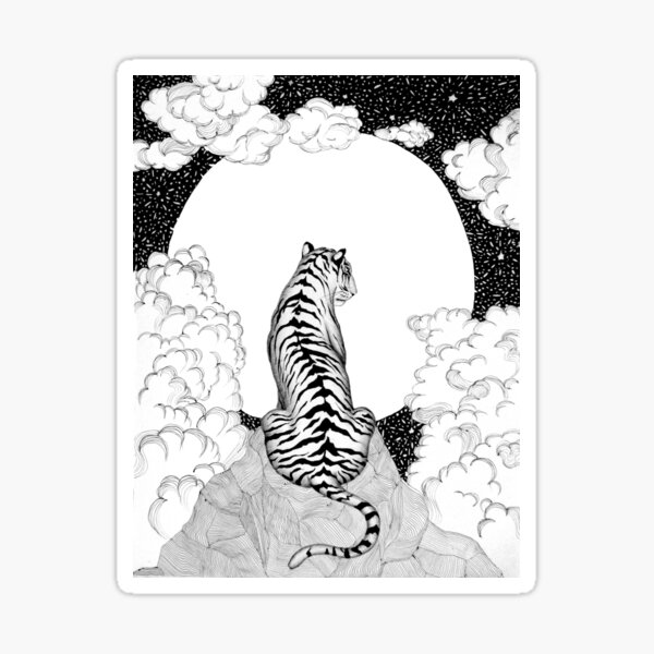Tiger Moon Sticker