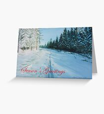 Ski Tracks Season's Greetings red text Greeting Card