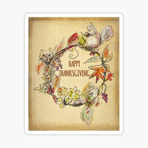 Happy Thanksgiving Woodland Wreath-Vintage-Effect  Sticker