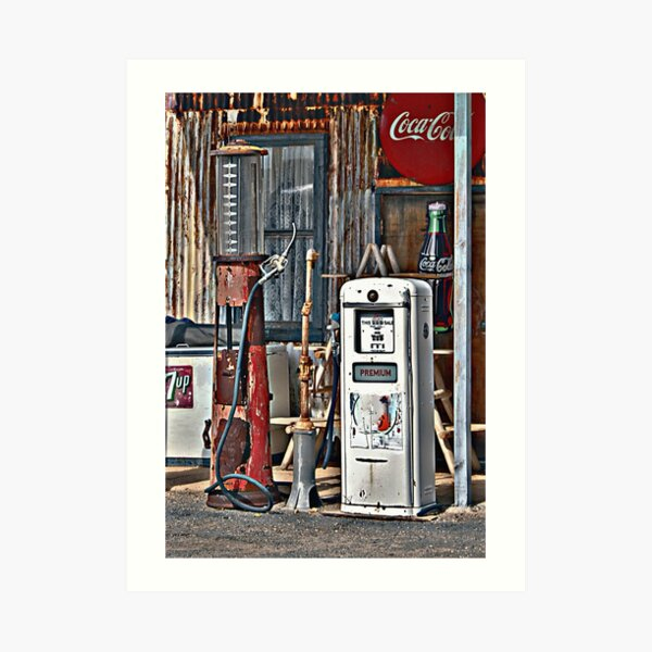 Vintage Gas Pumps Art Print