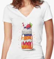 Strawberry and Blueberry shortcake in a jar Women's Fitted V-Neck T-Shirt