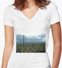 Arizona Desert and Cactuses  Women's Fitted V-Neck T-Shirt