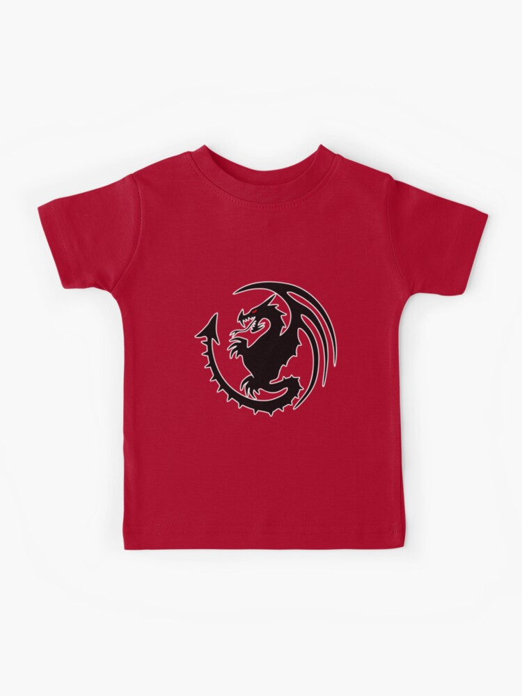 Round Black Dragon Design On Red Background Kids T Shirt By Luckdragongifts Redbubble
