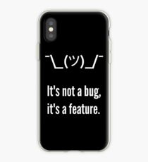 Shrug It's not a bug, it's a feature. White Text Programmer Excuse Design iPhone Case