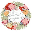 Thank You Thanksgiving Card by Yuliya Art