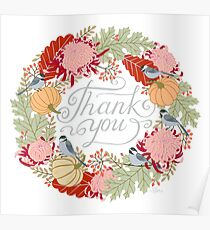 Thank You Thanksgiving Card Poster