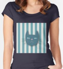 cute cat pattern,teal,beige,rustic,charming,fun,happy,kids,girly,modern,trendy Women's Fitted Scoop T-Shirt