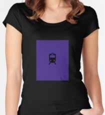 CTA L Inspired Purple Line Chicago Minimalist Print Women's Fitted Scoop T-Shirt