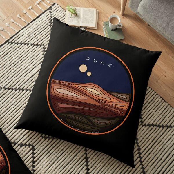 Orange Border Dune Arrakis Desert Planet with Black Background Floor Pillow