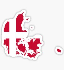 Denmark Flag Map Sticker