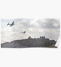 Spitfire and Hurricane over Dover Castle  Poster