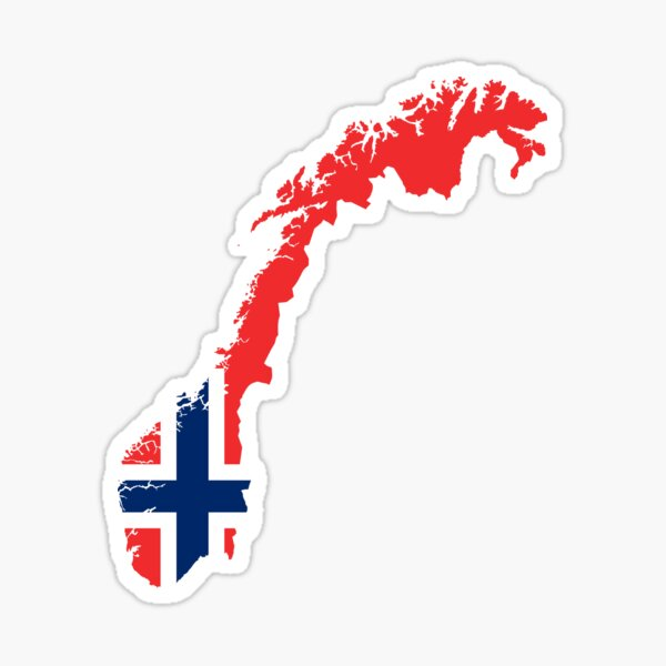 Norway Flag Map Sticker