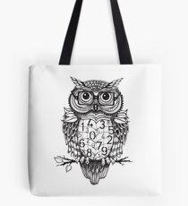 Owl sketch with numbers, glasses Tote Bag