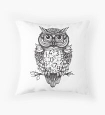 Owl sketch with numbers, glasses Throw Pillow