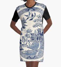 China Blue Willow Graphic T-Shirt Dress