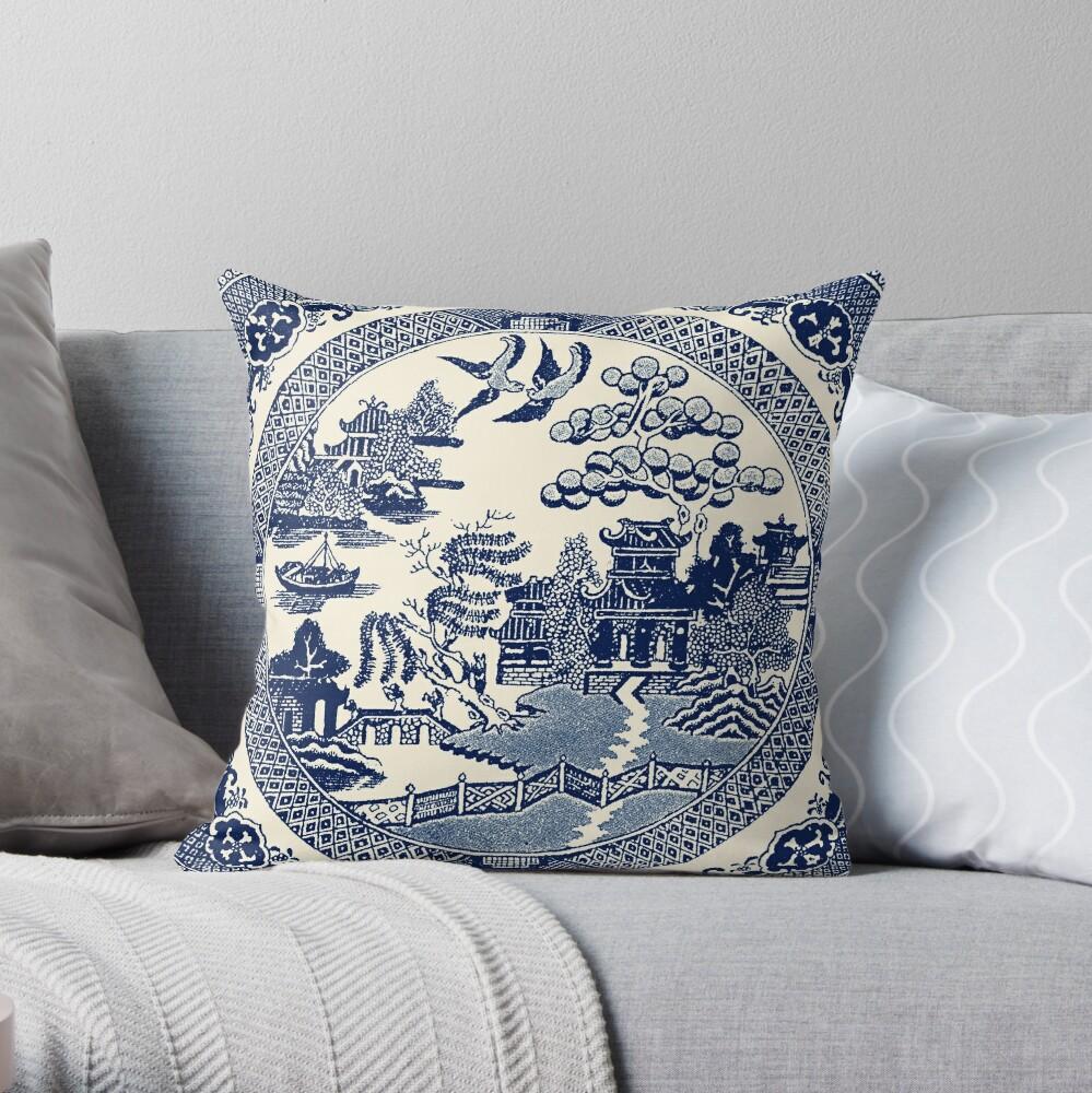 China Blue Willow Throw Pillow