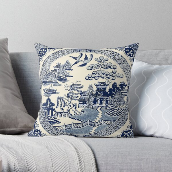 China Blue Willow Throw Pillow