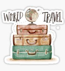 World Travel Hand Drawn Adventure Inspirational Luggage #home #trending Sticker