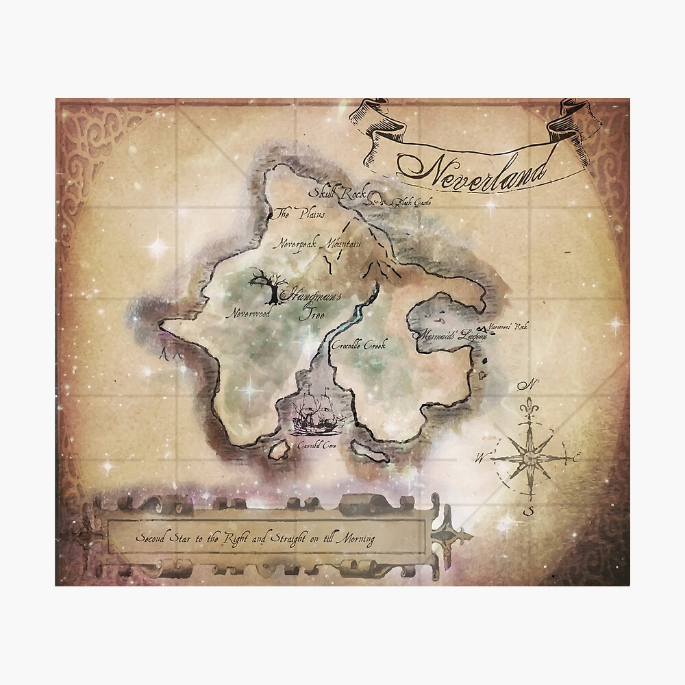 Klassische Neverland Map Blanket King Size Fotodruck