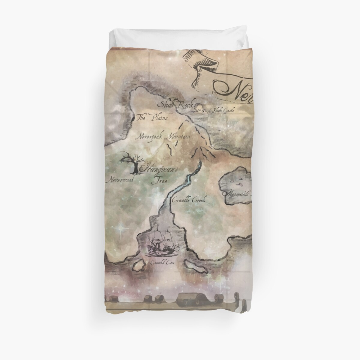 Classic Neverland Map Blanket King Size by Sophersgreen