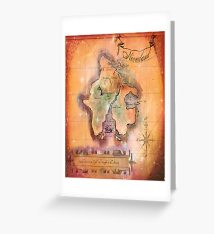 Twin Size Neverland Map Greeting Card