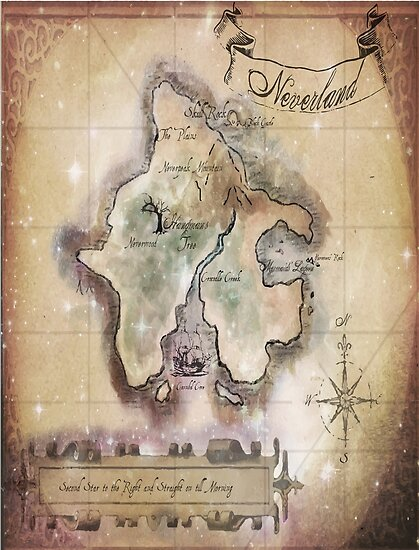 Twin Size Classic Neverland Map Posters By Sophersgreen Redbubble
