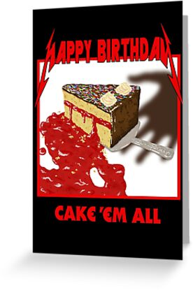 Quot Cake Em All Parody Quot Greeting Card By Cleandemon Redbubble