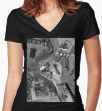 Escher's Asylum of the Daleks Women's Fitted V-Neck T-Shirt